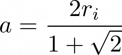 achteck innenkreis nach a umgestellt LaTeX: a=frac{2r_i}{1+sqrt{2}}
